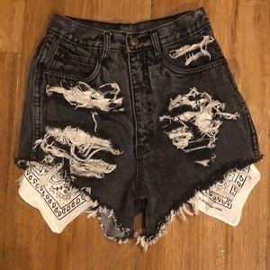 Pants - Black fringe denim shorts bandana detail GRUNGE